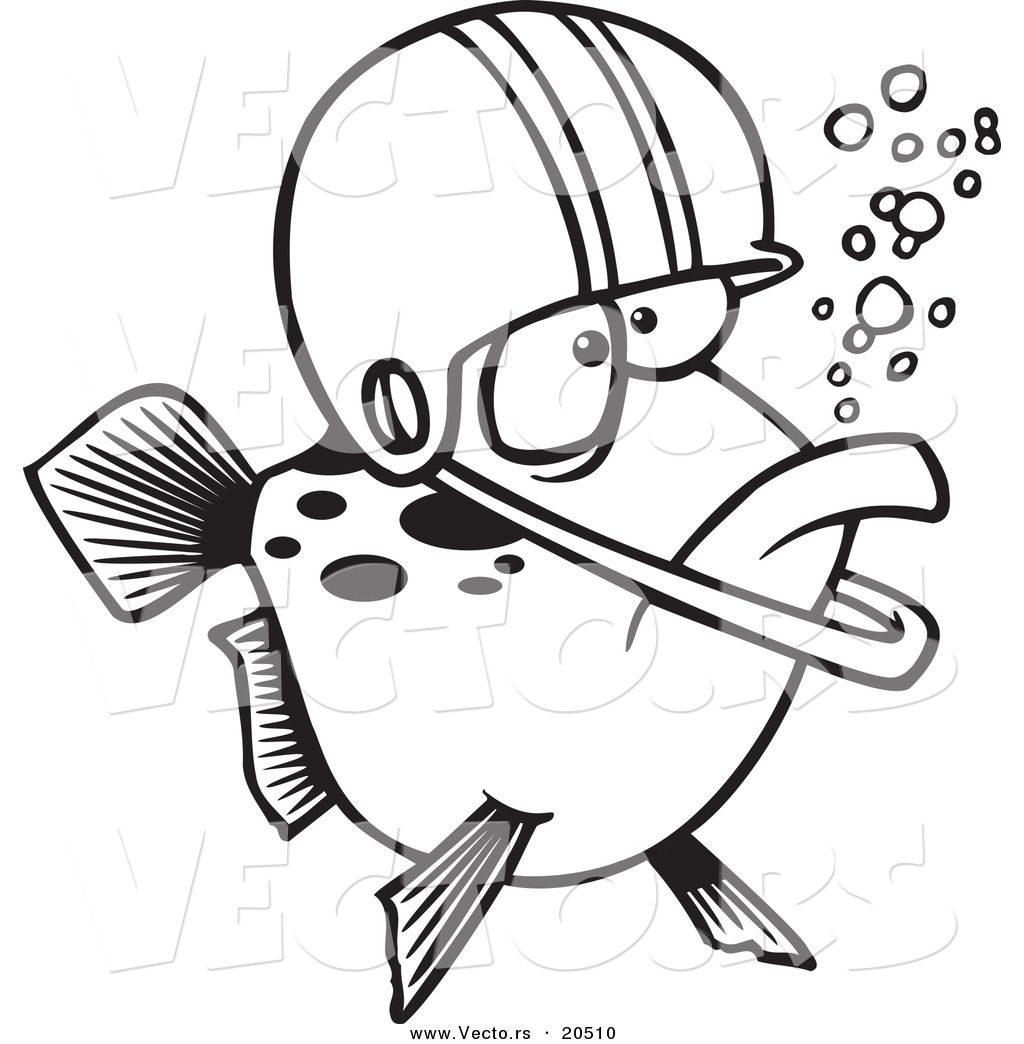 Of Cartoon Football Fish Wearing Helmet Coloring Page