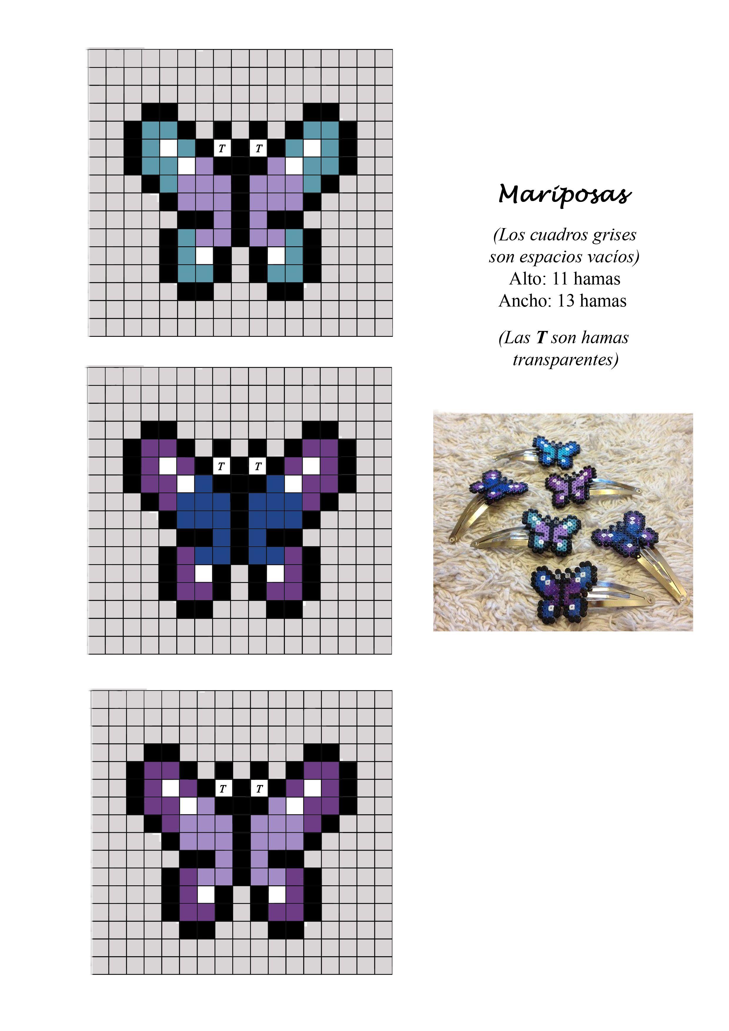 Mariposas Butterflies Hama Perler Beads Pattern Beading Patterns Hama Beads Patterns Perler Bead Art