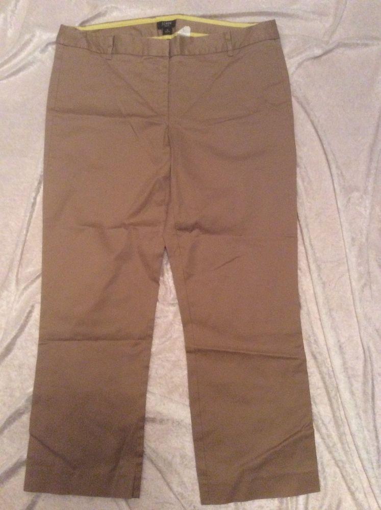 J Crew Khaki Crops 10 Womens City Fit Stretch Pants Spring Summer