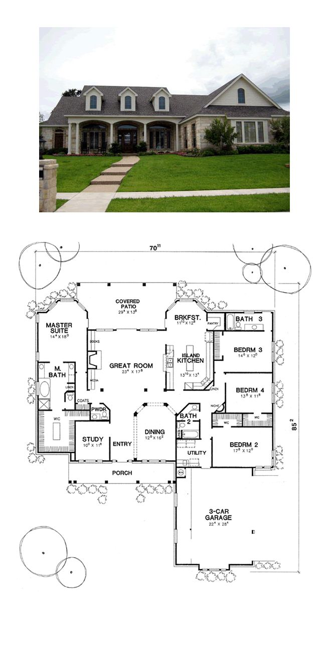One Story Style House Plan 67403 With 4 Bed 4 Bath 3 Car Garage House Blueprints House Plans European House Plan