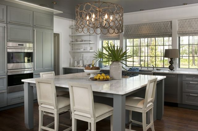 inspiration. love the grayish blue and marble and roman shades