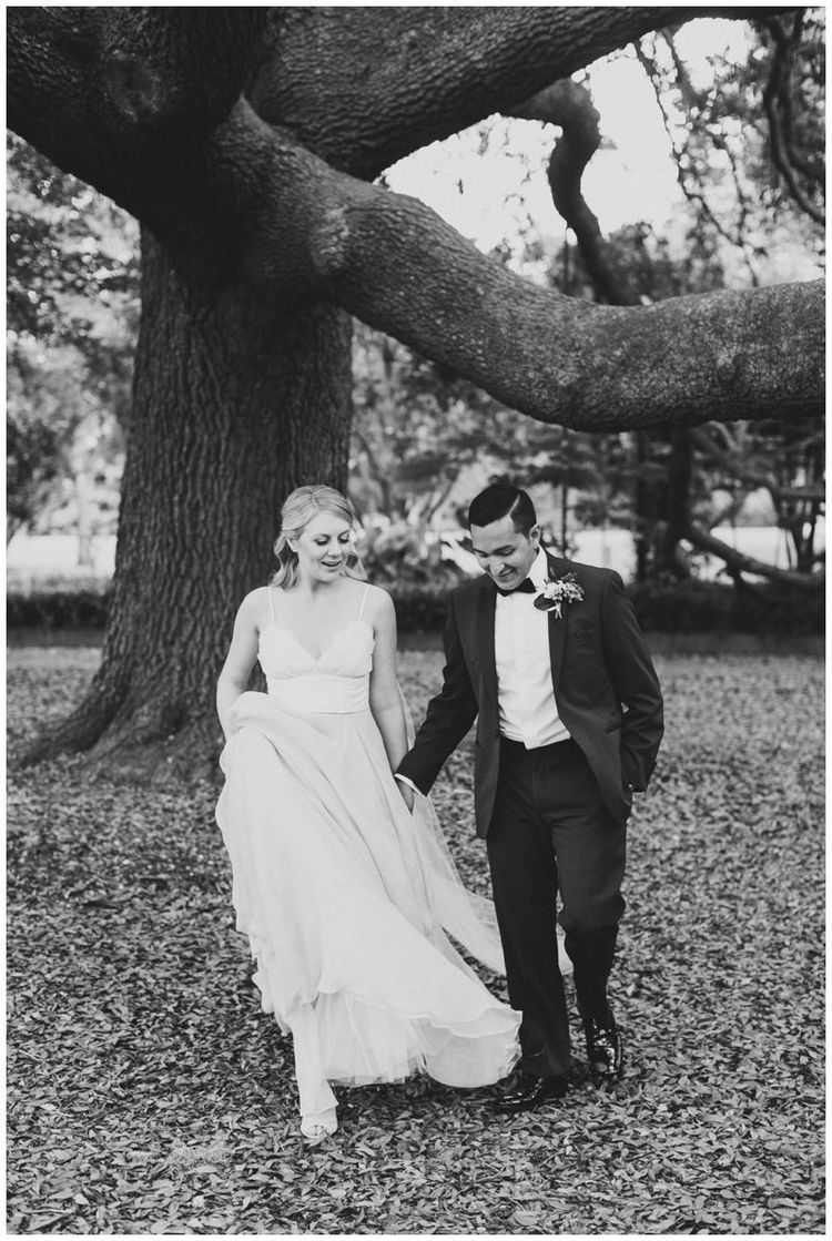 Bride + Groom Oak Portraits Natural Rustic Wedding at