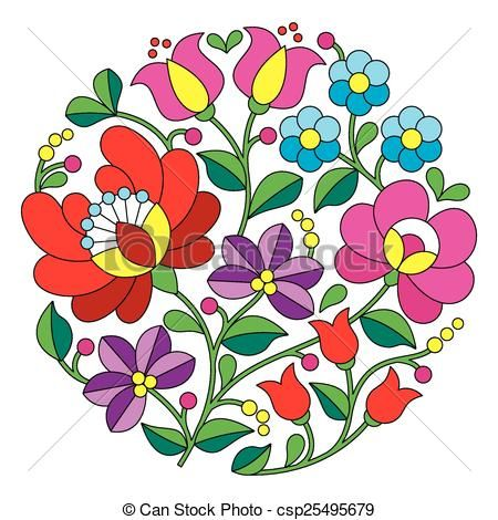 vector kalocsai embroidery hungarian stock illustration rh pinterest com embroidery clip art free embroidered clip art free