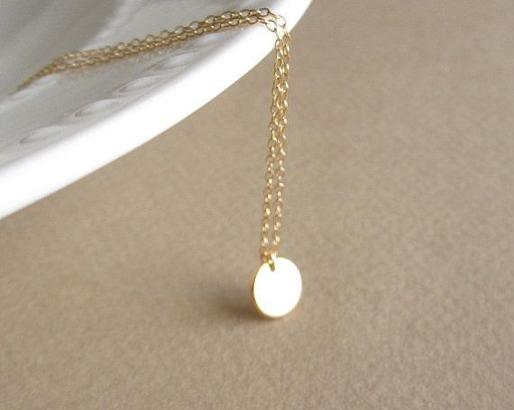 Tiny Gold Disc Necklace simple gold necklace petite dainty