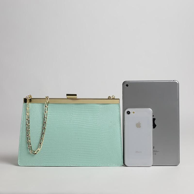 be68cb2dd0be Mint Green Python Leather Handbags Square Shoulder Chain Bags ...