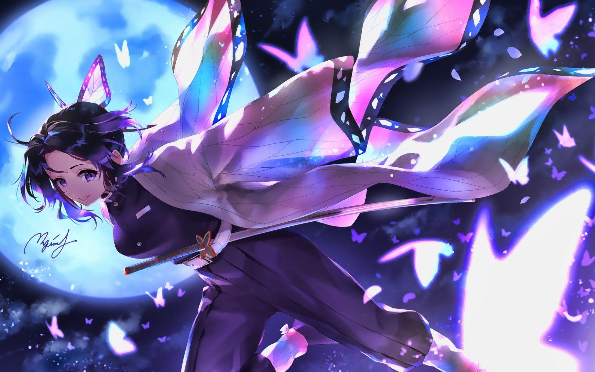 Descargar Fondos De Pantalla Shinobu Kochou Obras De Arte Kimetsu No Yaiba Diablo Cazador Buscar Kimono Mariposas Kocho Shinobu Besthqwallpapers Com Anime Anime Fantasy Anime Demon Descargar wallpaper de anime