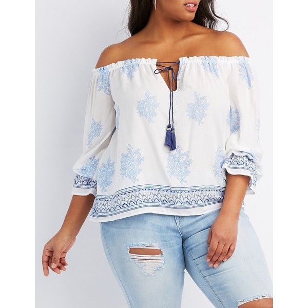 Charlotte Russe Printed Tassel-Tie Blouse found on Polyvore featuring polyvore, plus size women's fashion, plus size clothing, plus size tops, plus size blouses, ivory combo, long sleeve peasant blouse, boho blouse, bohemian blouses and womens plus tops
