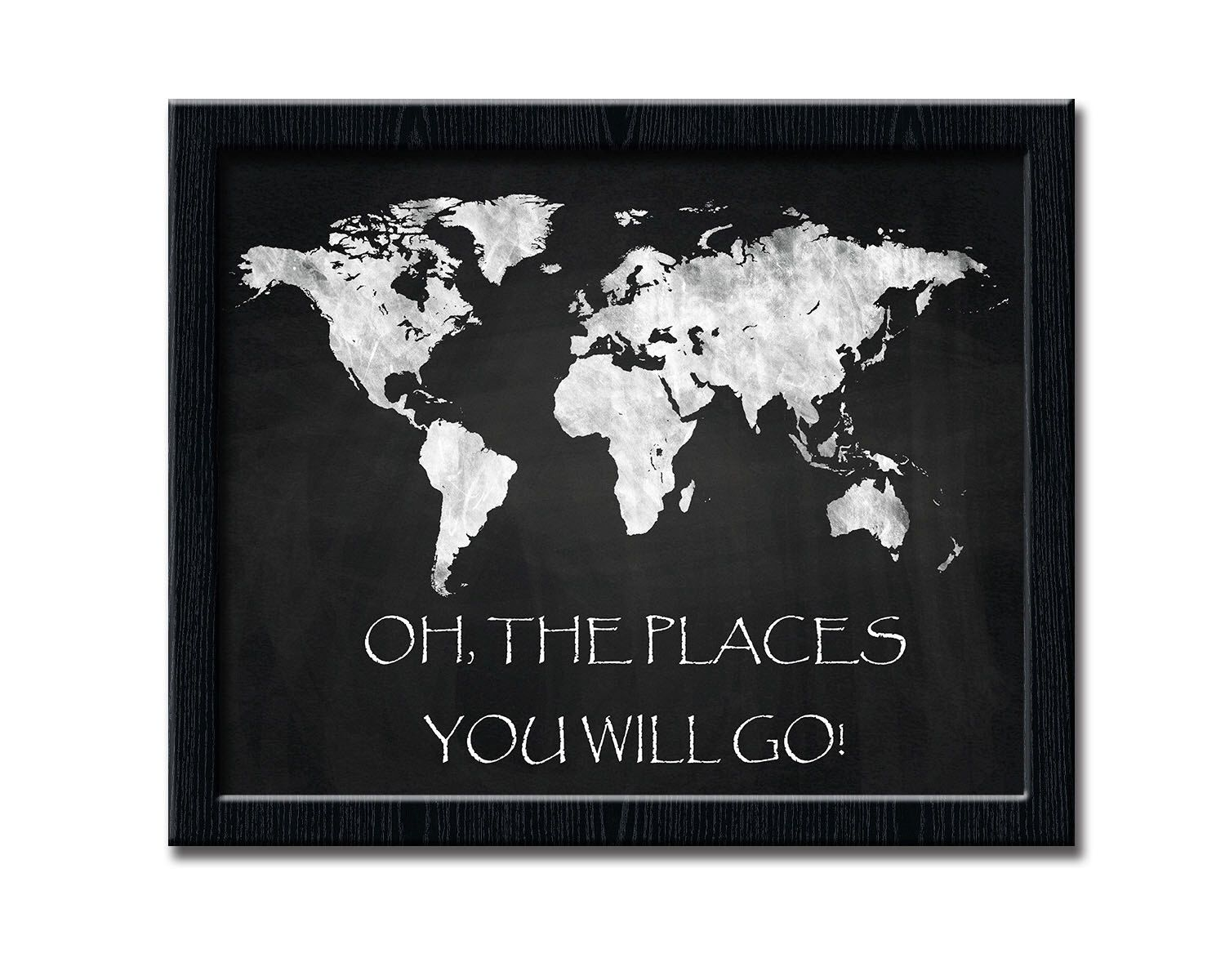 World map art print chalkboard world map 10x8 and 14x11 chalkboard world map art print chalkboard world map 10x8 and 14x11 chalkboard poster printable gumiabroncs Images