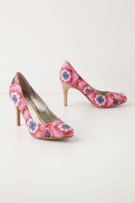 Windowbox Heels Pink Heels With Flowers In Rose White And Royal