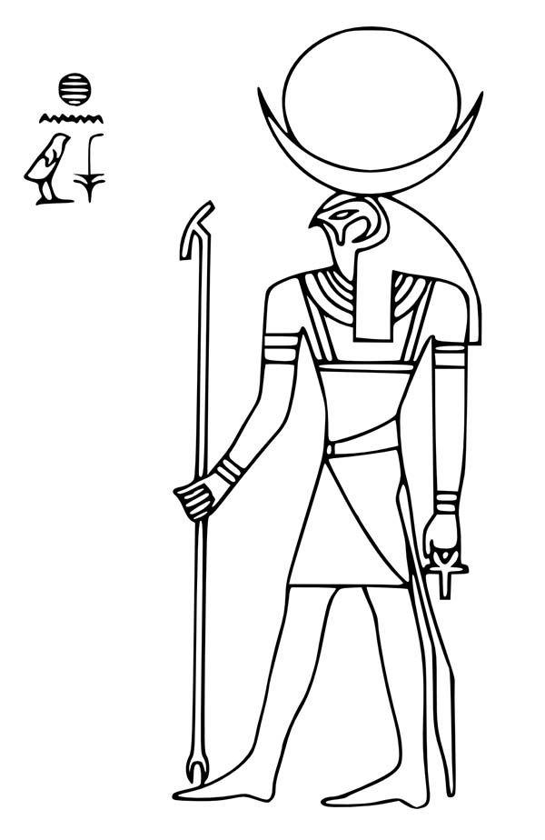 Ancient Egypt Sun God Ra Coloring Page - Free & Printable Coloring ...