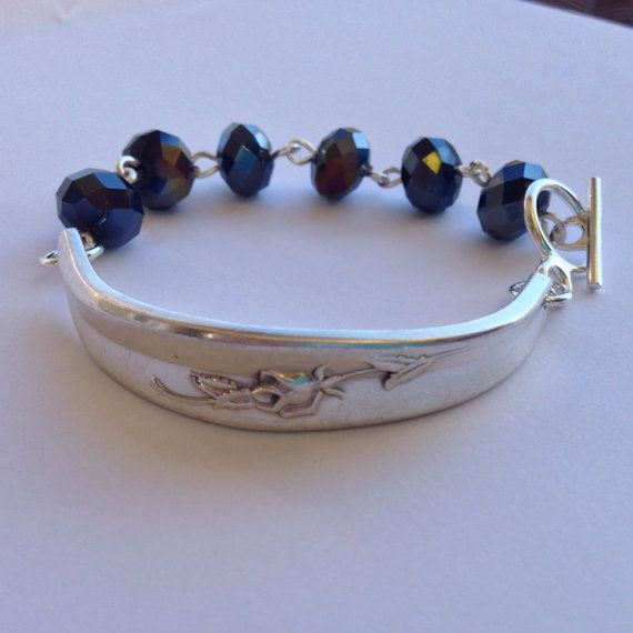 Rose ID Style bracelet with black glass beads and by GirlRanAway $44