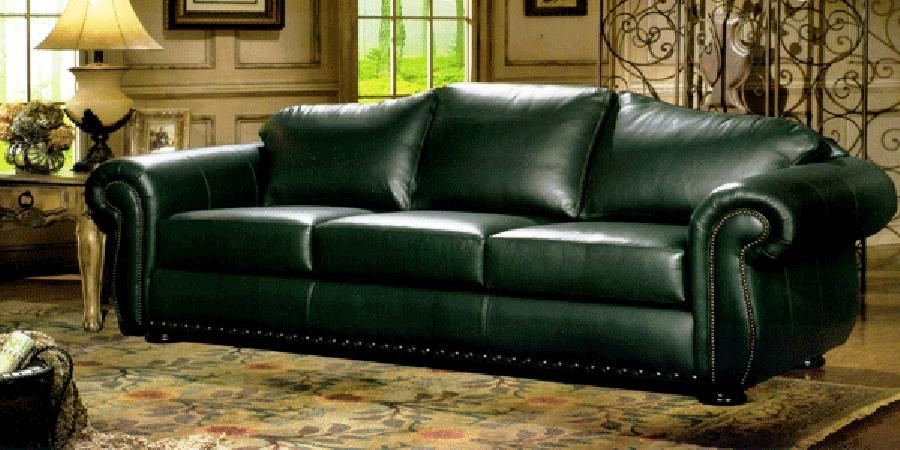 Another Classic And Elegant Design For A Sofa In Bold Hunter Green Leather Perfect