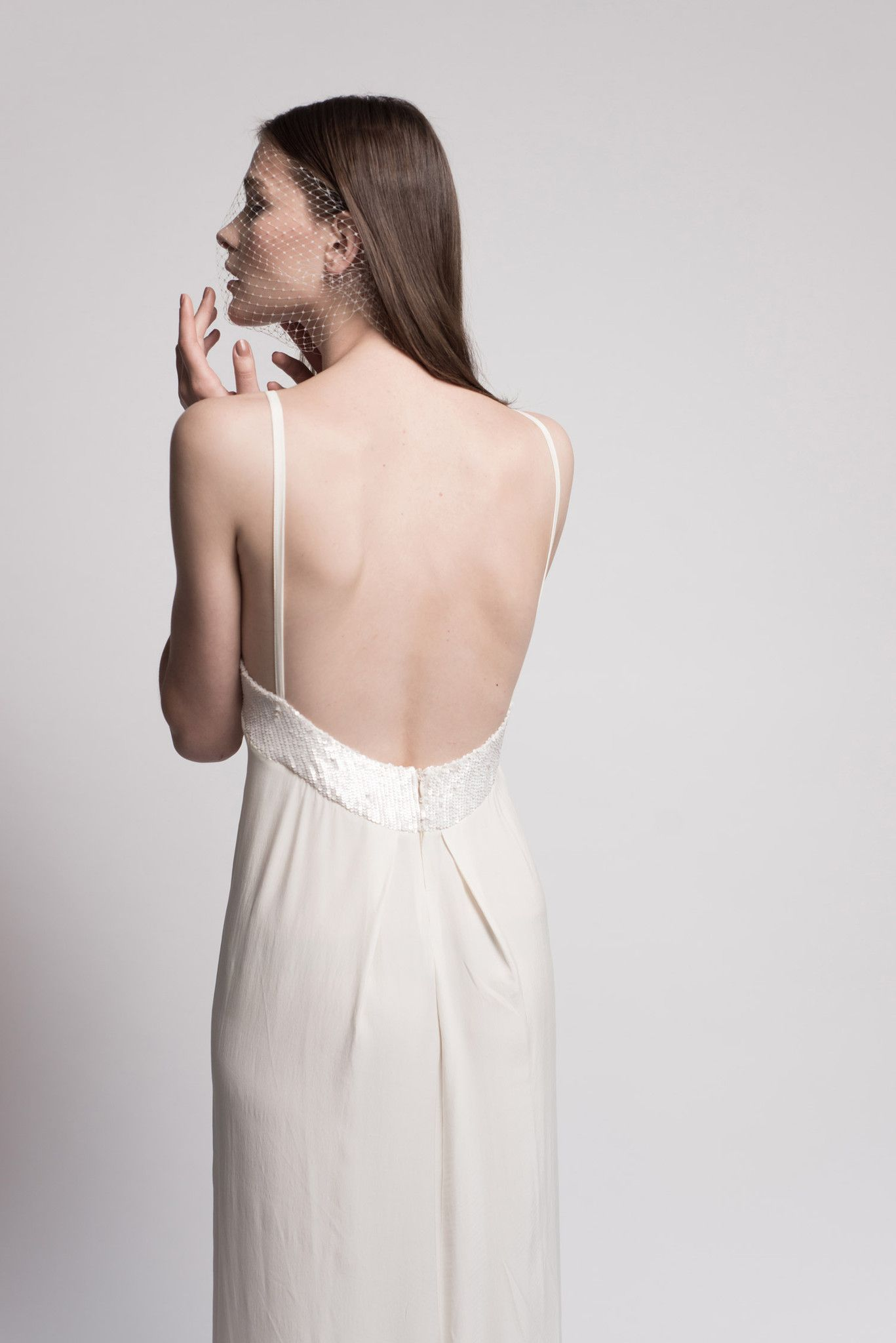 Ivory wedding dress with sequin cut and open back beach wedding