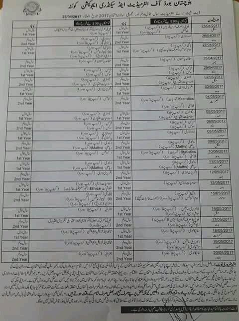 Fa Fsc Date Sheet 2018 Balochistan Board With Images
