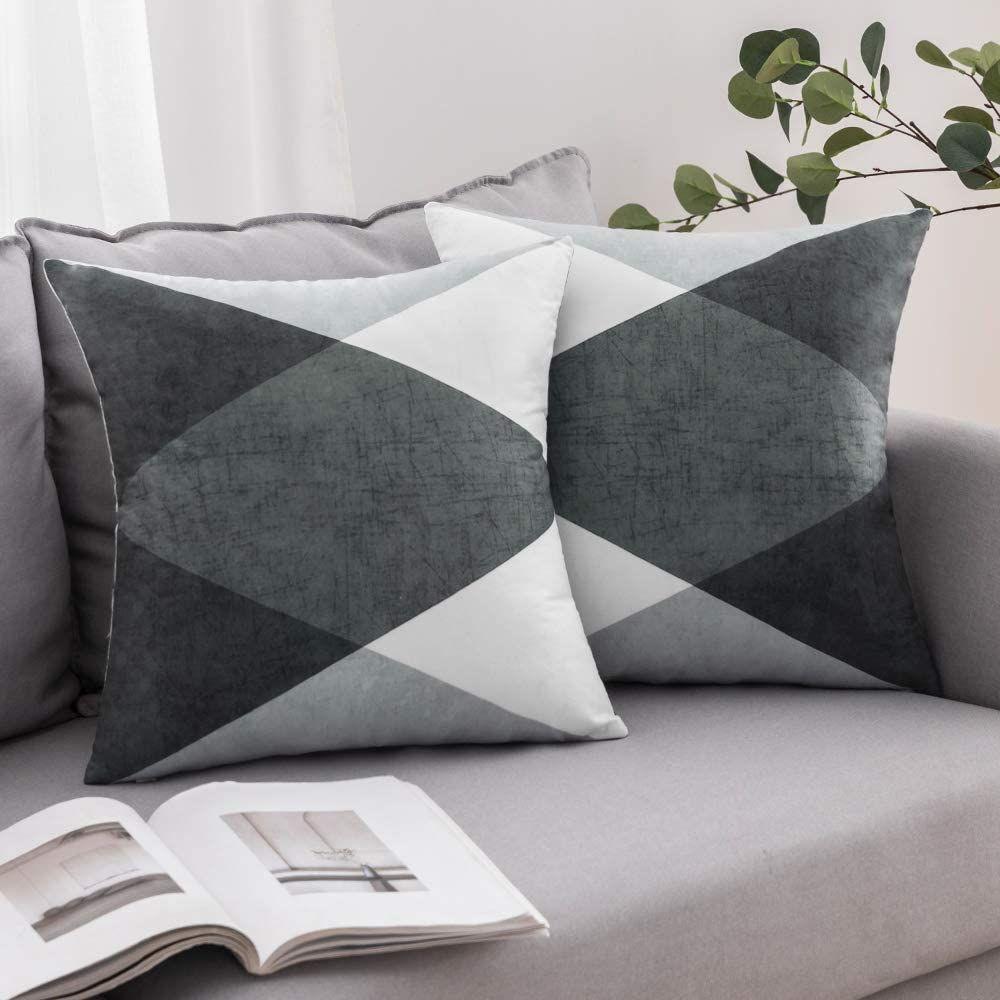 Miulee 2er Set Kissenbezug Geometrische Zierkissenbezuge Wildlederoptik Sofa Bett Home Decorative Weich Dekorative K Geometric Cushions Cushions Cushion Covers