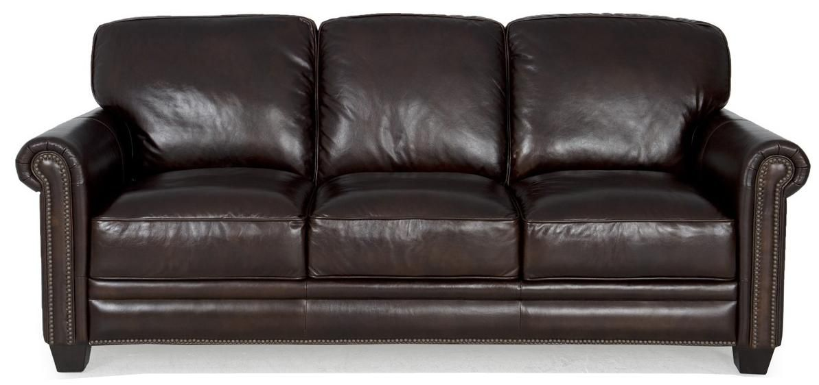 7888 Dark Brown Leather Sofa With Nailhead Trim By Futura