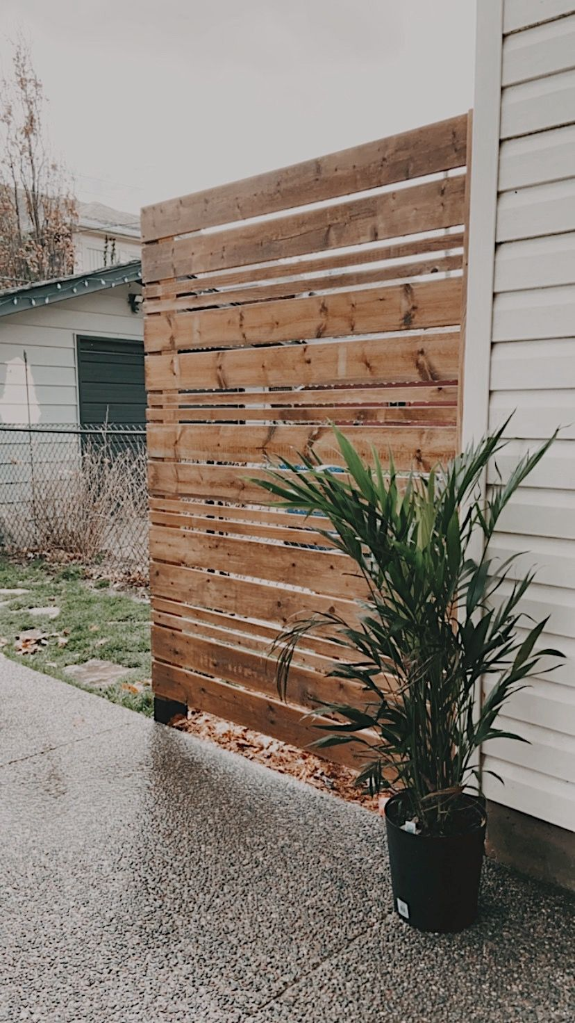 Photo of Modern Horizontal Wood Privacy Screen Fence Mid Century