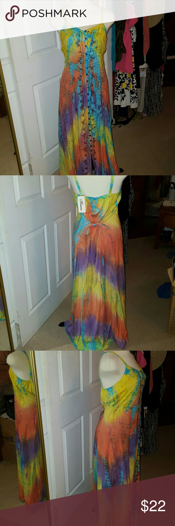 Henna Hippie Boho Indian Tie Dyed  Maxi All rayon, this colorful dress is embroidered  and buttons down the front. One size fits most but it's mostly xsmall-med. Unless you don't mind a little pulling in the back and tummy, large can work. Ties in back to adjust to your measurements. Henna  Dresses Maxi