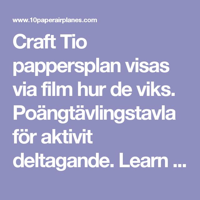 Craft Tio pappersplan visas via film hur de viks. Poängtävlingstavla för aktivit deltagande. Learn how to make 10 great paper airplanes with free animated instructions