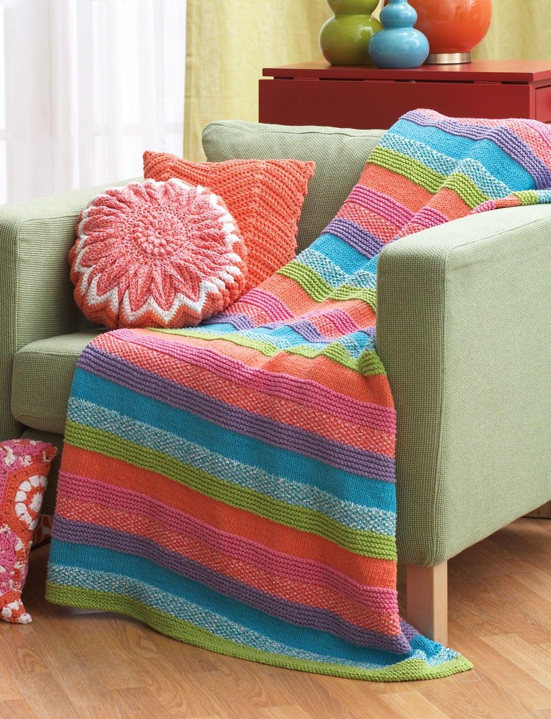Yarnspirations.com - Bernat Striped Blanket -Free Pattern - Easy ...
