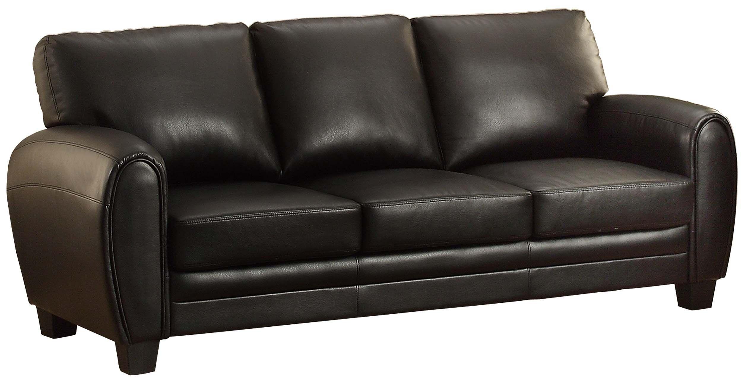 Homelegance 9734bk 3 Upholstered Sofa Black Bonded Leather Match