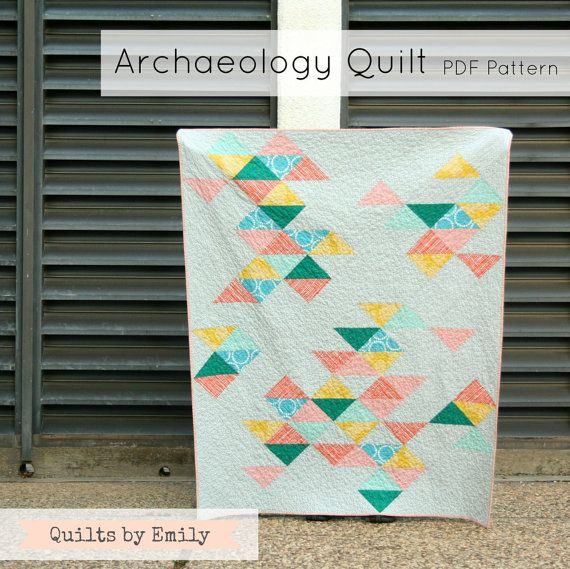 Archaeology Quilt Modern Quilt Pattern INSTANT by QuiltsByEmily, $8.50