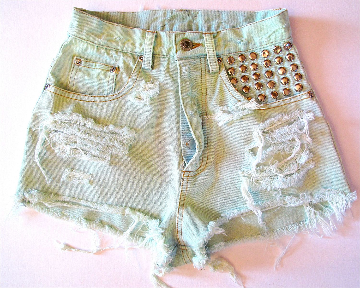 Pastel Green / Studded & Destroyed / High Waisted Shorts | Etsy ...