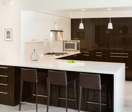 Modern U-shaped White kitchen, cabinets,