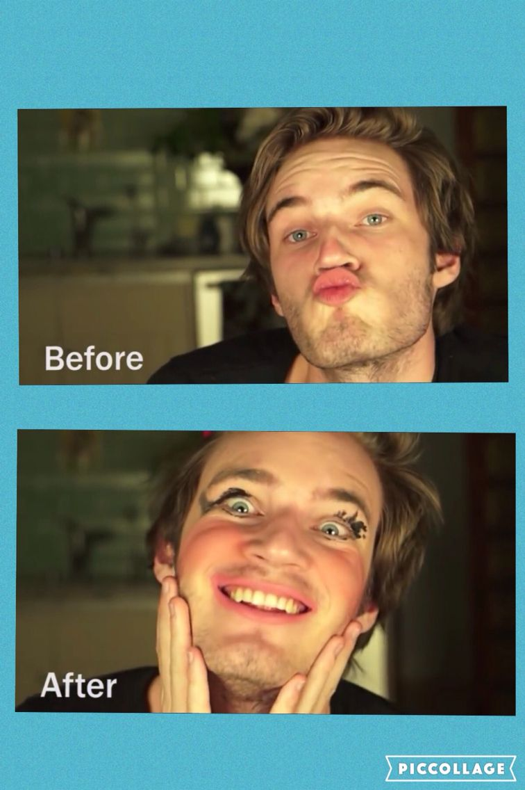 Pewdiepie Before and After Makeup  He looks fabulous