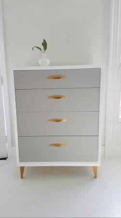 Mid Century Dresser Vintage Dresser Painted White Gray And Gold Tall Bedroom Furniture Makeover Furniture Makeover Redo Furniture