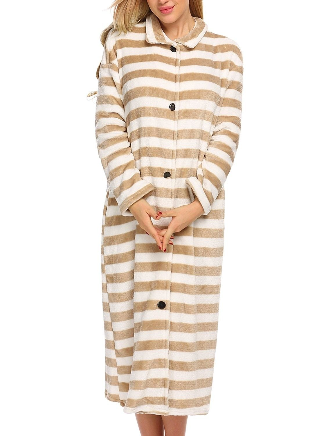 2bc69d6b7fbd Robes Women s Button Front Sleepwear Long Bathrobe Ultra-Soft Fleece ...
