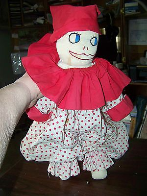 "Vintage Stuffed Cloth Clown Doll 18"" White Red Polka Dots Sock Type 