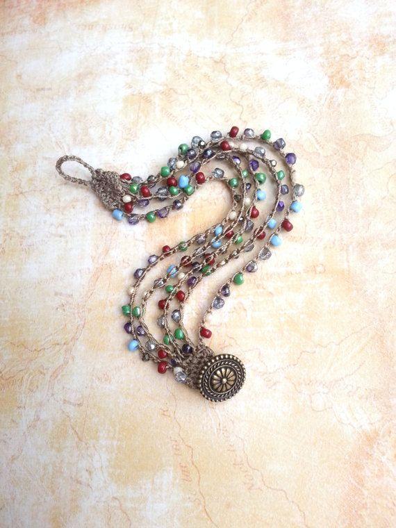 Bohemian Colorful Beaded Crochet Bracelet #craftsaleitems