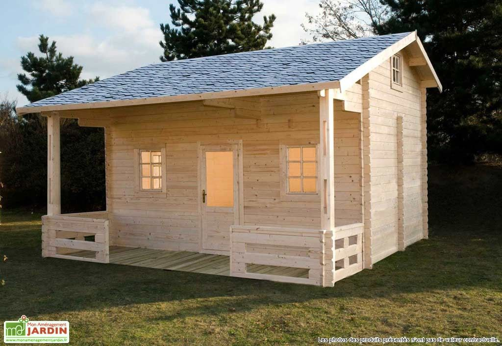 Bungalow chalet bois meg ve 600x590x378 44 mm bungalow for Cabanon de jardin en bois