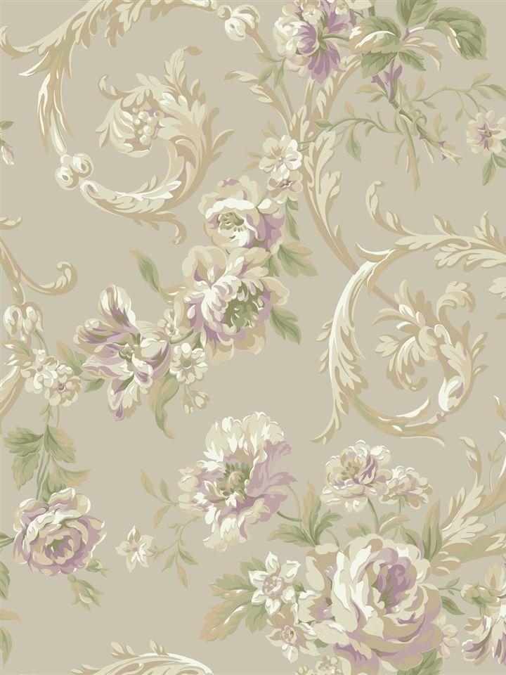 Lavanda rococ floral del papel pintado iridiscente for Papel pintado estampado
