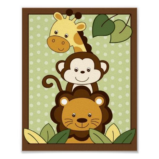 Safari Jungle Animal Nursery Wall Art Print 8X10 | Animal nursery ...