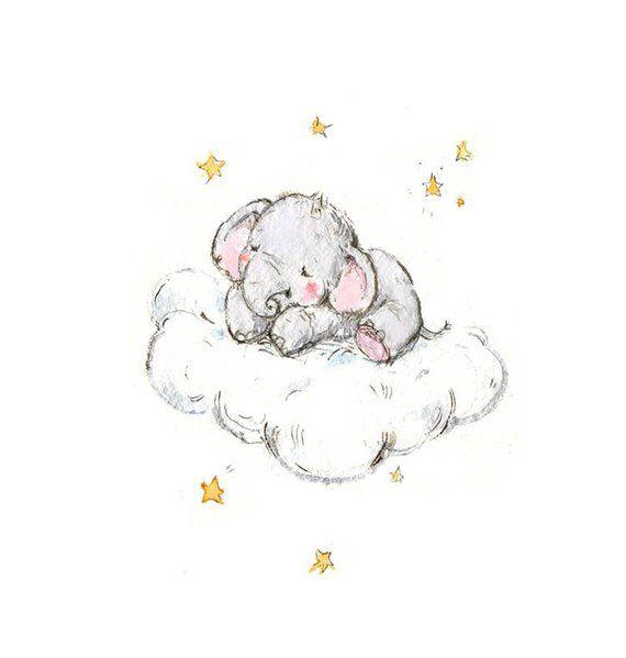 Elephant nursery art, Baby Elephant Prints, Stars Print, Elephant Stars Art, Kids Wall Decor