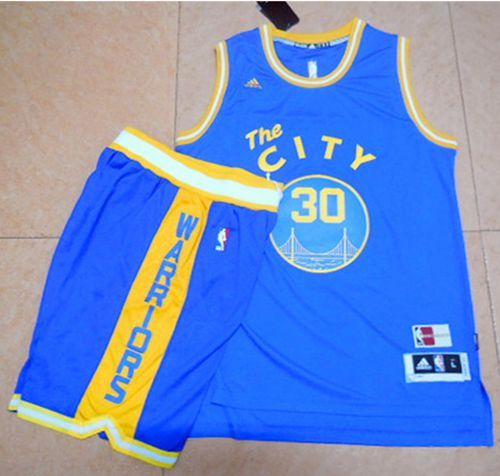 e163983b9 Warriors  30 Stephen Curry Blue Throwback The City A Set Stitched NBA Jersey