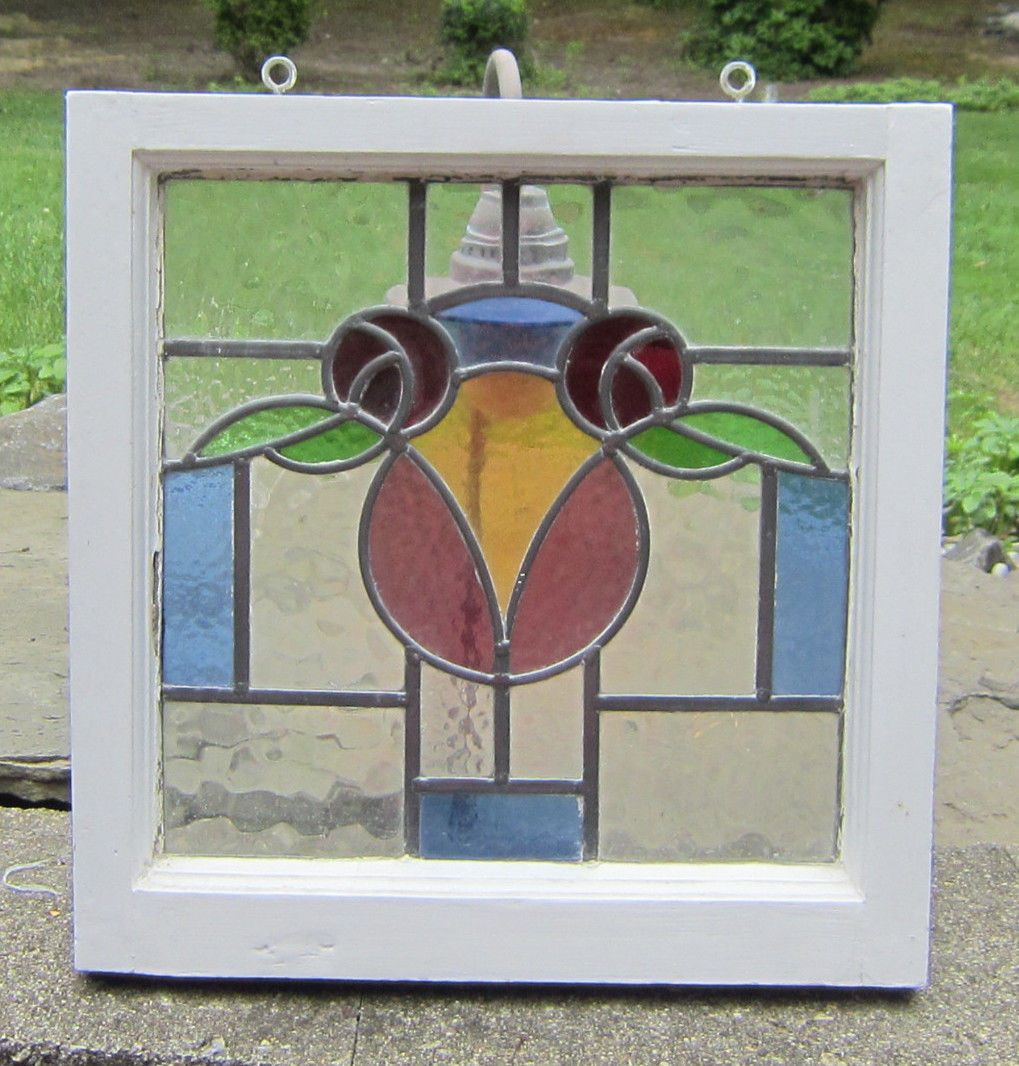 """Antique Stained Glass Window Very Old 19 5 8"""" x 19 1 4"""" Well Made   eBay"""