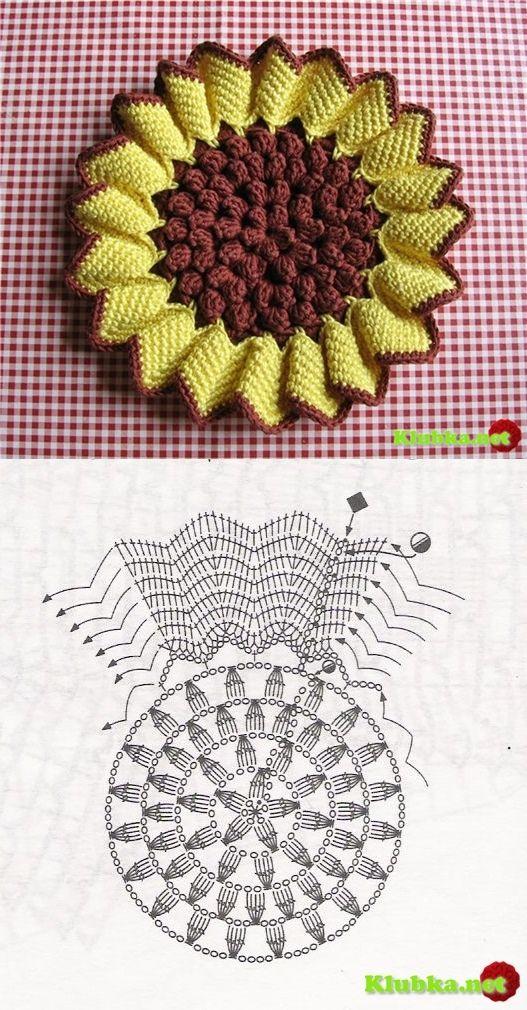Sonnenblume | häkeln | Pinterest | Sonnenblumen, Topflappen und Häkeln
