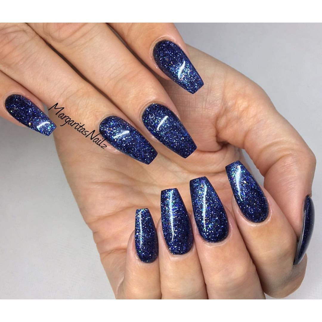 Midnight Glitter Coffin Nails Nails To Die For Pinterest Blue