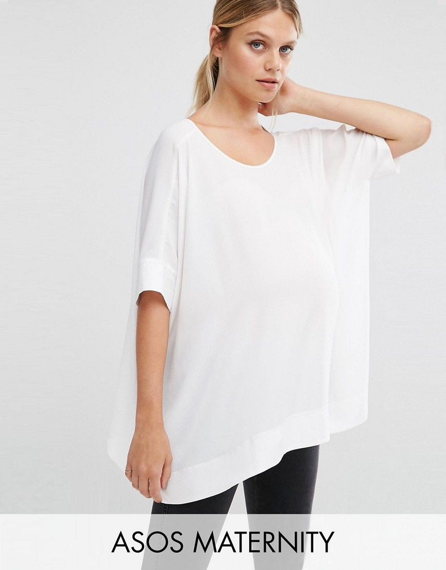 378e4b40c2f2f ASOS Maternity Oversized Kimono T-Shirt With V Back - White: Maternity top  by ASOS Maternity, Smooth woven fabric, Scoop neckline, Kimono cut ...