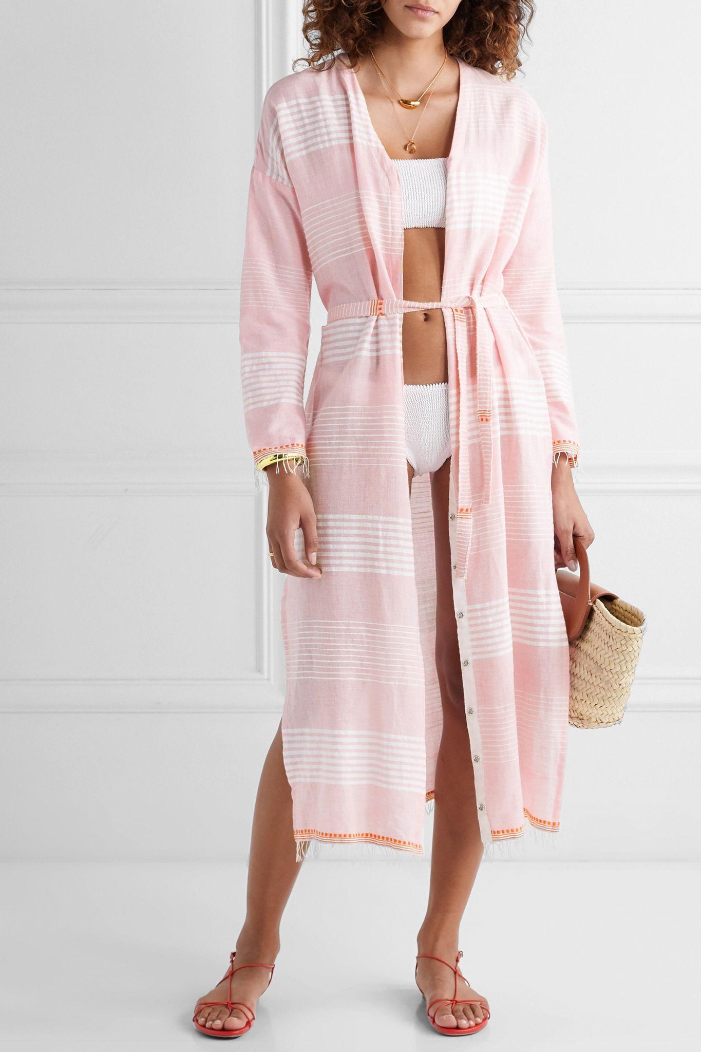 Baby Pink Rekik Belted Frayed Striped Cotton Gauze Midi Dress Lemlem Lemlem Midi Dress Cover Up [ 2048 x 1365 Pixel ]