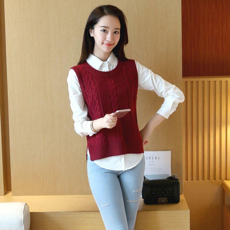Casual nieuwe mode vrouwen herfst lente mouwloos vest trui vrouwelijke losse trui o-hals top meisjes Student stijl