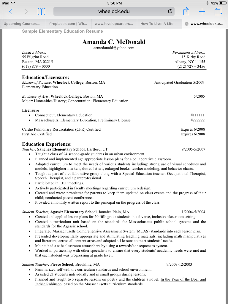 Visit Wheelock College Website For More Education Resume Examples