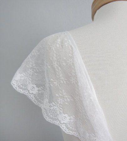 Amazon.com: Lace White Cap Sleeves for Wedding dress Size Medium MODEST: Everything Else