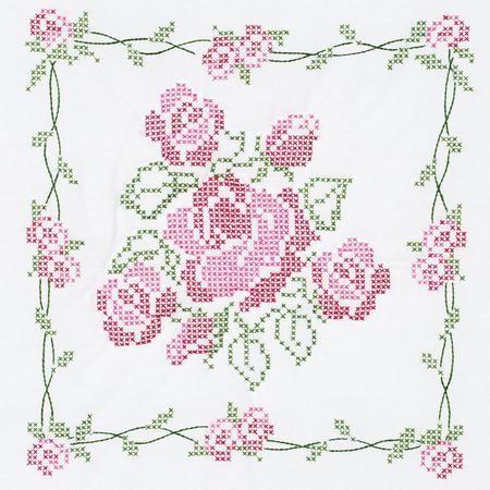 Rose Bouquet White Quilt Blocks - Stamped Cross Stitch Kit | moms ... : cross stitch quilt block patterns - Adamdwight.com