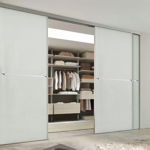 Minimalist 2 Panel Silver Frame Sliding Wardrobe Door With Soft
