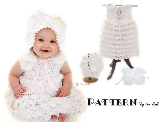 PATTERN - Christening Gown - Baby Dress, Booties, Beret and Bonnet ...