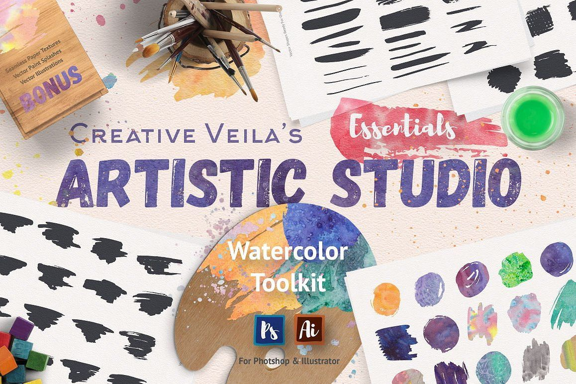 Artistic Studio Watercolor Toolkit Photoshop Brushes